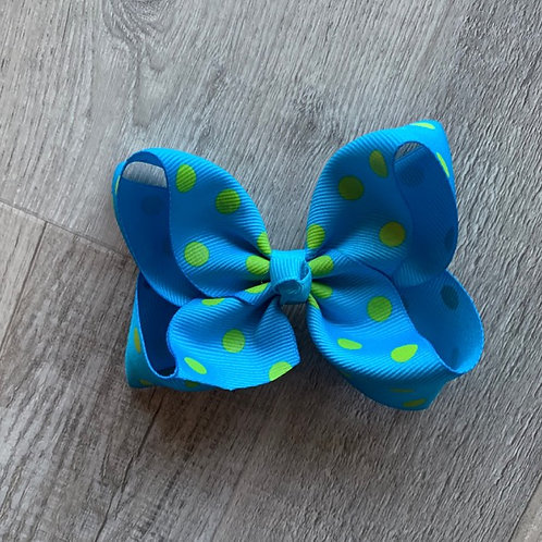 SALE turquoise with green dots Loopy Bow
