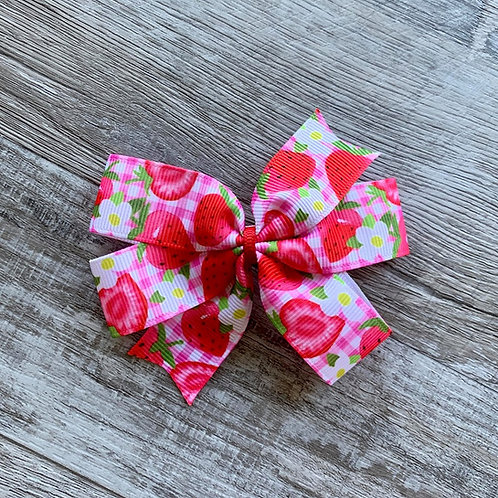 Strawberries Mini Pinwheel Bow