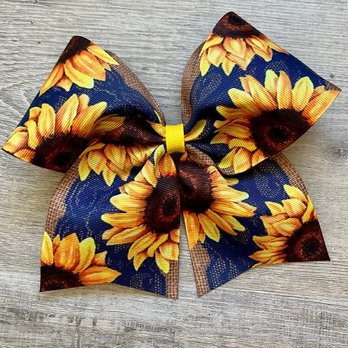 Vintage Lace Sunflowers Cheer Style Bow