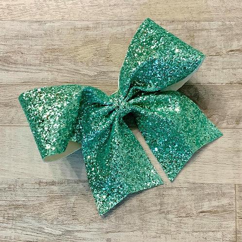 Sea Green Chunky Glitter Cheer Bow