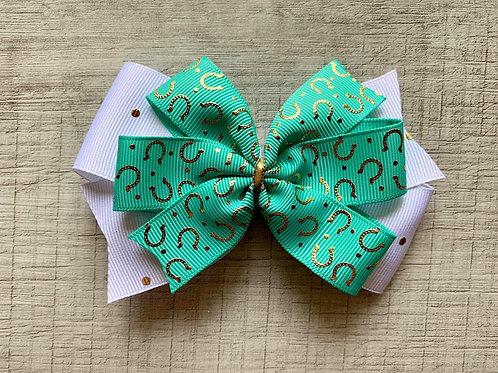 Aqua Horseshoes double pinwheel bow