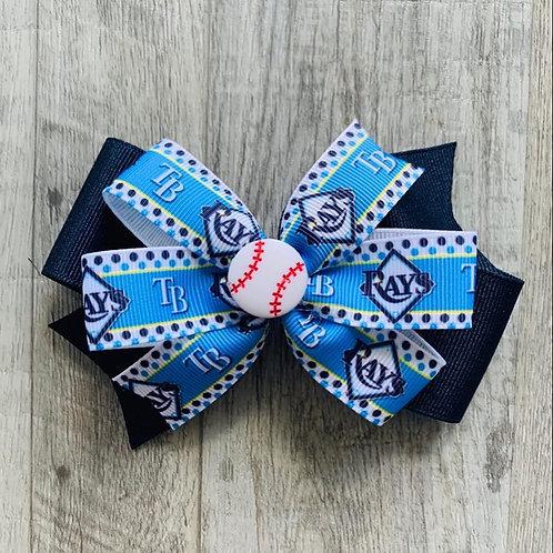 Tampa Bay Rays polka dots double pinwheel bow