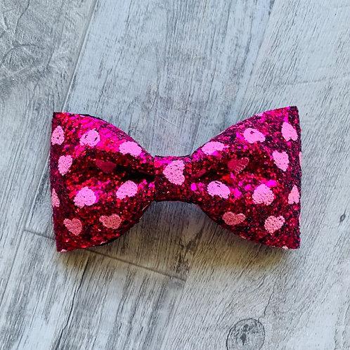 Hearts Chunky Glitter Bow-tie Bow
