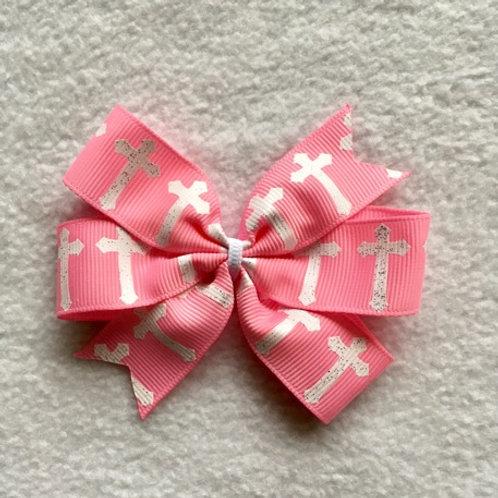 Pink Crosses Mini Pinwheel Bow