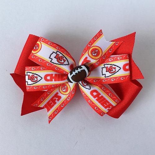 Kansas City Chiefs double pinwheel bow