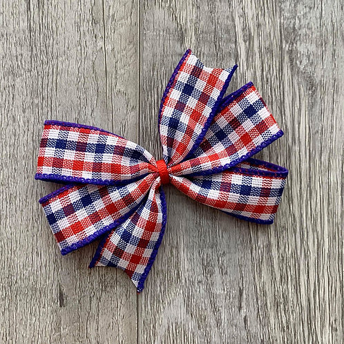USA plaid Mini Pinwheel Bow