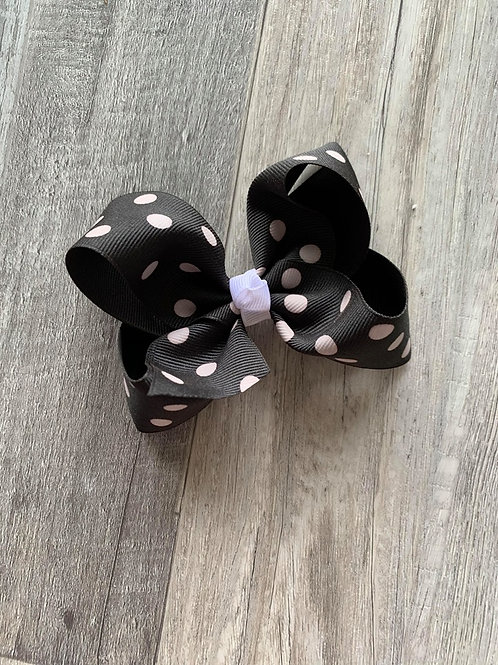 SALE black with white dots Loopy Bow