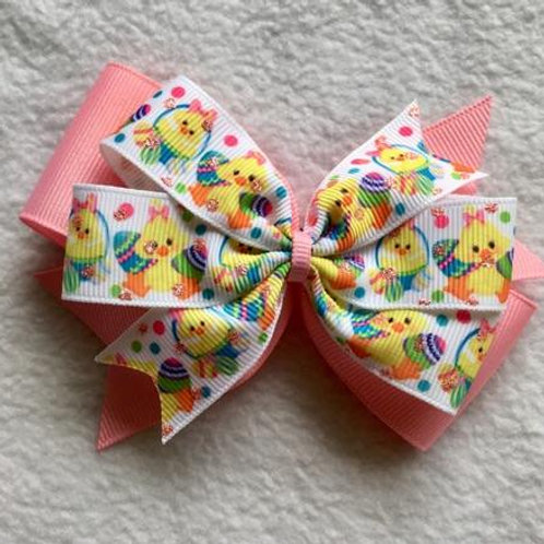 Easter Chicks & Eggs Double Pinwheel Bow