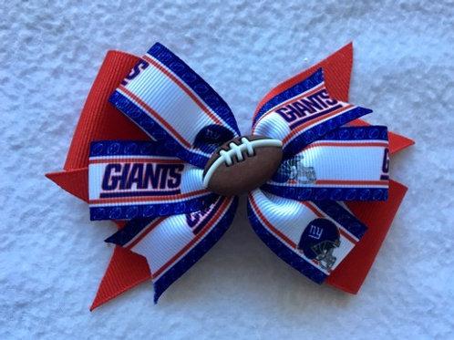 New York Giants double pinwheel bow