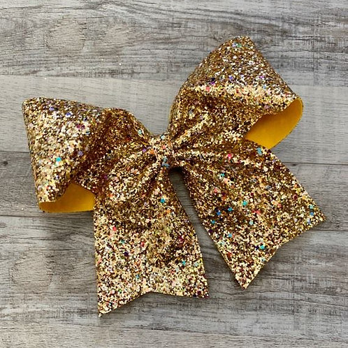 Gold Chunky Glitter Cheer Bow