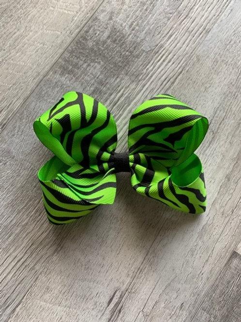 SALE Lime Zebra Loopy Bow