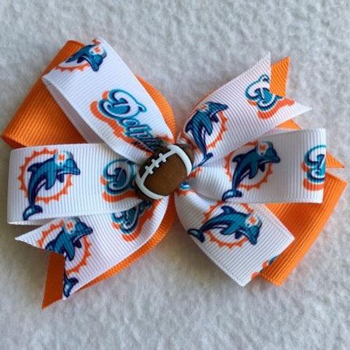 Miami Dolphins double pinwheel bow