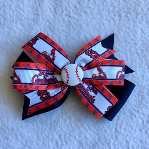 St. Louise Cardinals double pinwheel bow