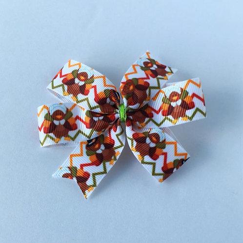 Chevron Turkeys mini pinwheel bow