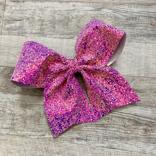 Orchid Chunky Glitter Cheer Bow