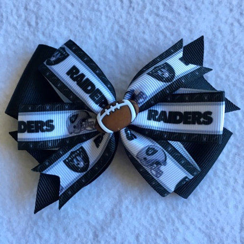 Oakland Raiders double pinwheel bow
