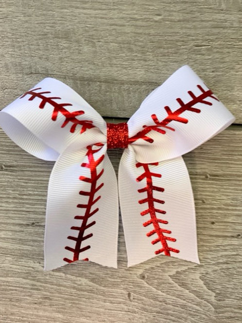Baseball Stitch Cheer Bow