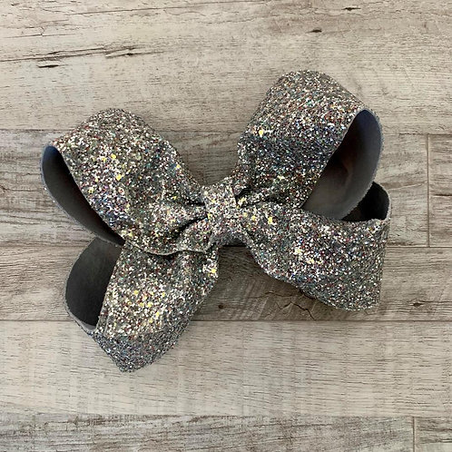 Silver Chunky Glitter Texas sized Loopy Bow