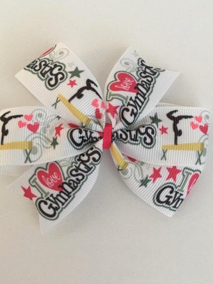 I love Gymnastics mini pinwheel bow
