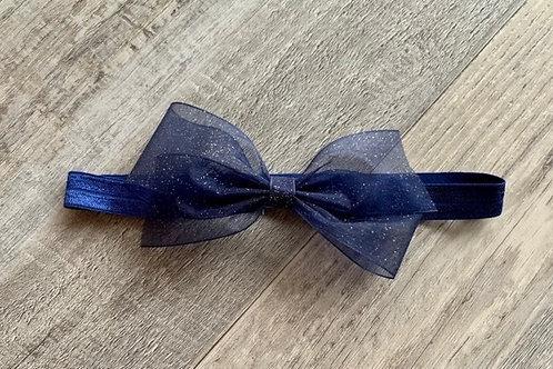 Navy Sheer Sparkle Baby Headband