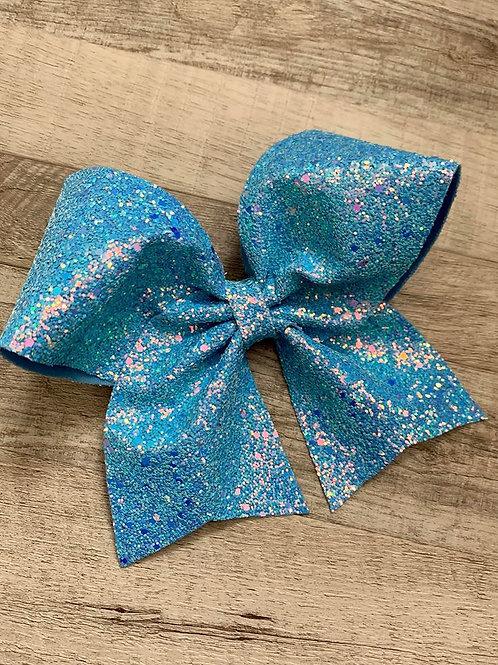 Ice Blue Chunky Glitter Cheer Bow