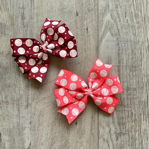 Colorful Baseball mini pinwheel bow