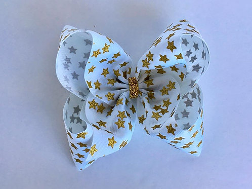Gold Glitter Stars on white Texas sized Loopy Bow