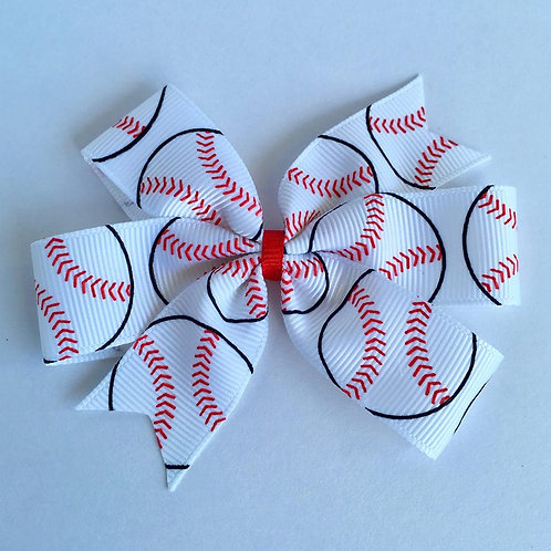 Baseball mini pinwheel bow