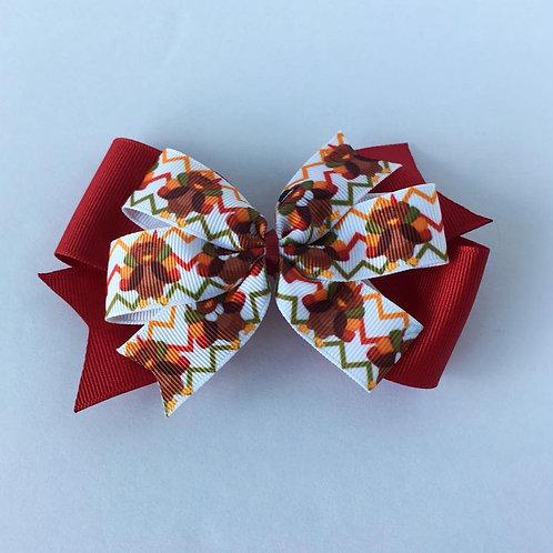 Chevron Turkeys double pinwheel bow
