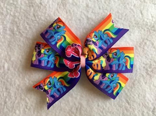 My Little Pony Rainbow mini pinwheel bow