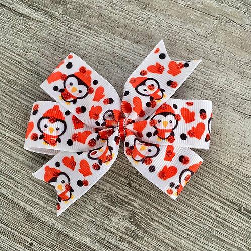Chilly Penguins mini pinwheel bow