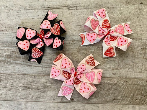 Heart Cookie Mini Pinwheel Bow
