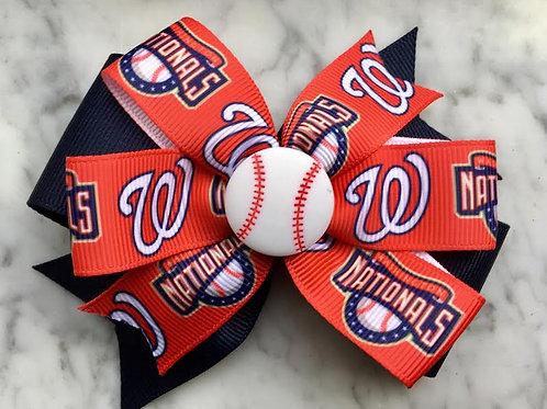 Washington Nationals double pinwheel bow