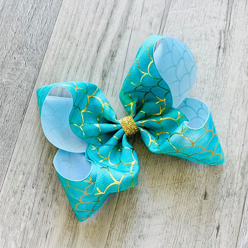 Teal/Gold Mermaid Loopy Bow