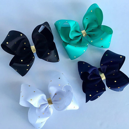 Gold Dot Loopy Bow