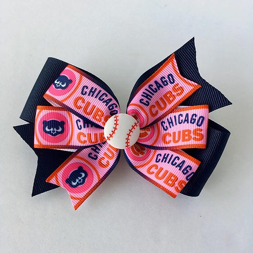 Chicago Cubs double pinwheel bow
