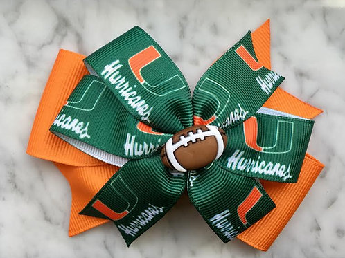 University of Miami Hurricanes double pinwheel bow