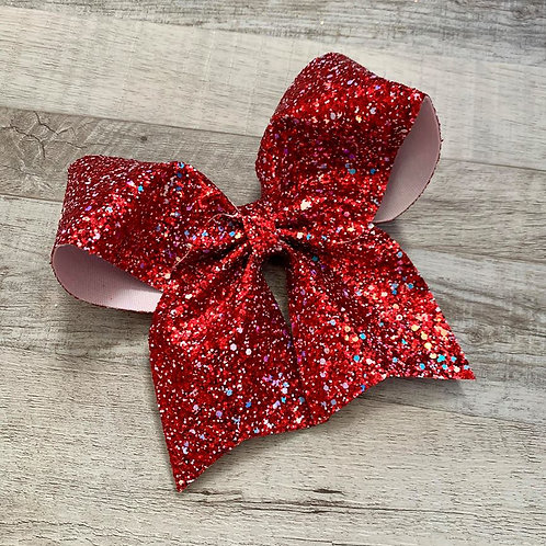 Red Chunky Glitter Cheer Bow