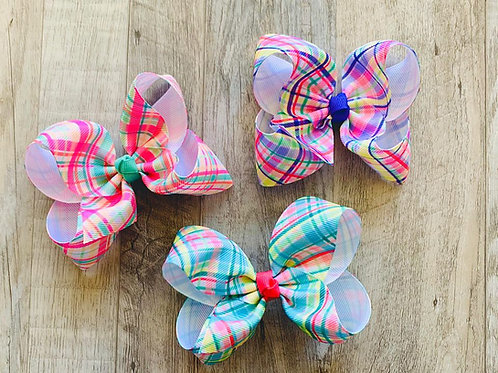 Colorful Plaid Loopy Bow