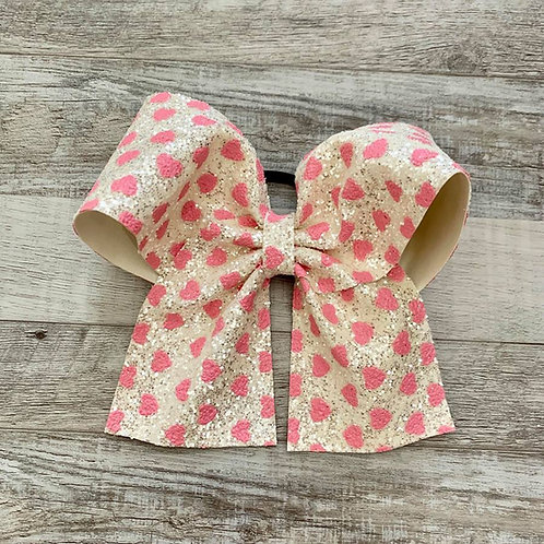 White Heart Chunky Glitter Cheer Bow