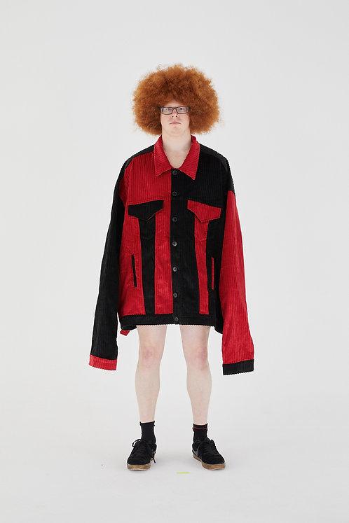 OLOAPITREPS JUMBO COAT CHERRY RED & BLACK