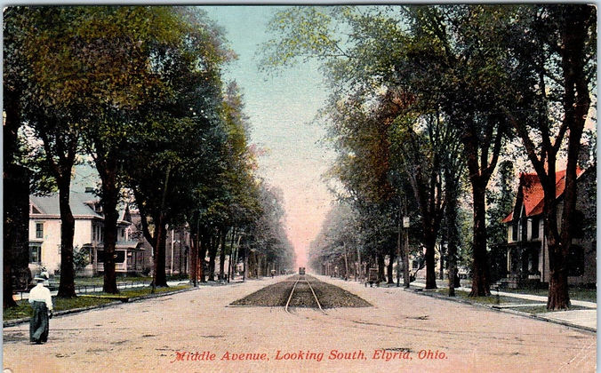 vintage post card showing downtown elyria