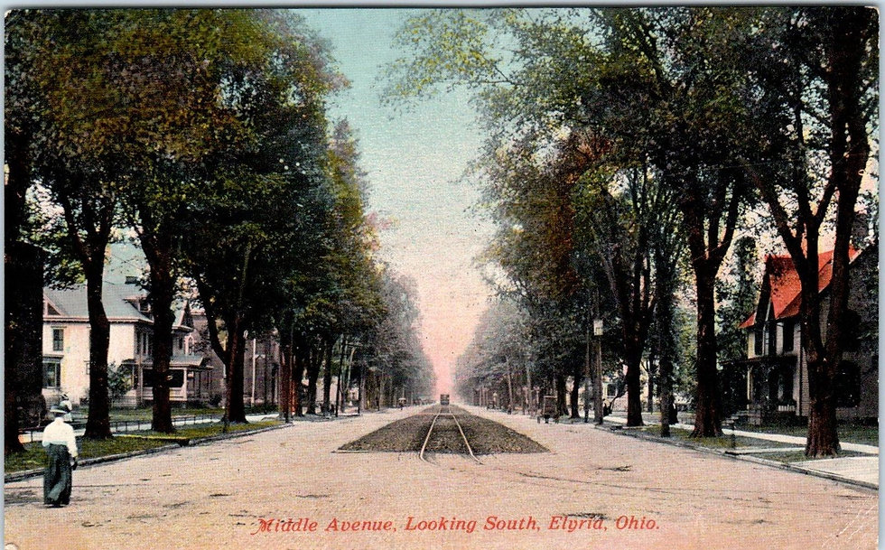 vintage postcard of downtown elyria