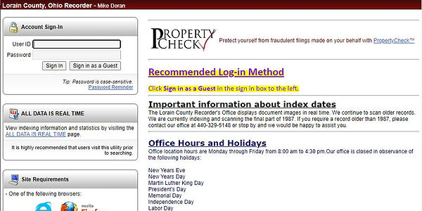 Screen capture of Records Search external website