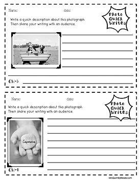 photo quick writes, writing skills