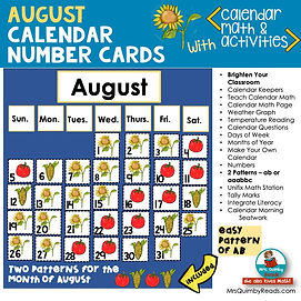 Calendar Math Number Cards