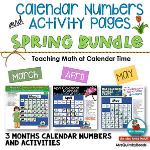 calendar number cards for Spring