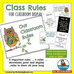 teaching resources, classroom rules, classroom organization, mrsquimbyreads