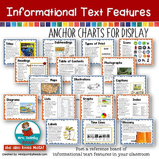 Informational Text Features, anchor charts, teaching resources, bulletin boards, MrsQuimbyReads