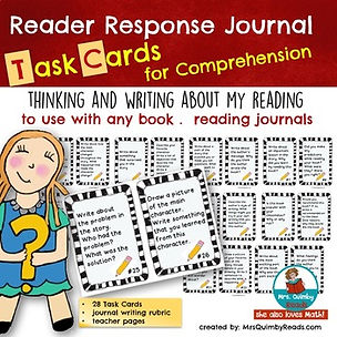 reader response, journal task cards, writing about my reading, literacy skills, writing prompts, write about books